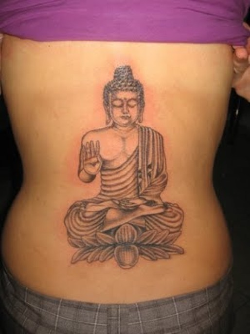 Charming Black Color Ink Buddha Lower Back Tattoo Design For Girls