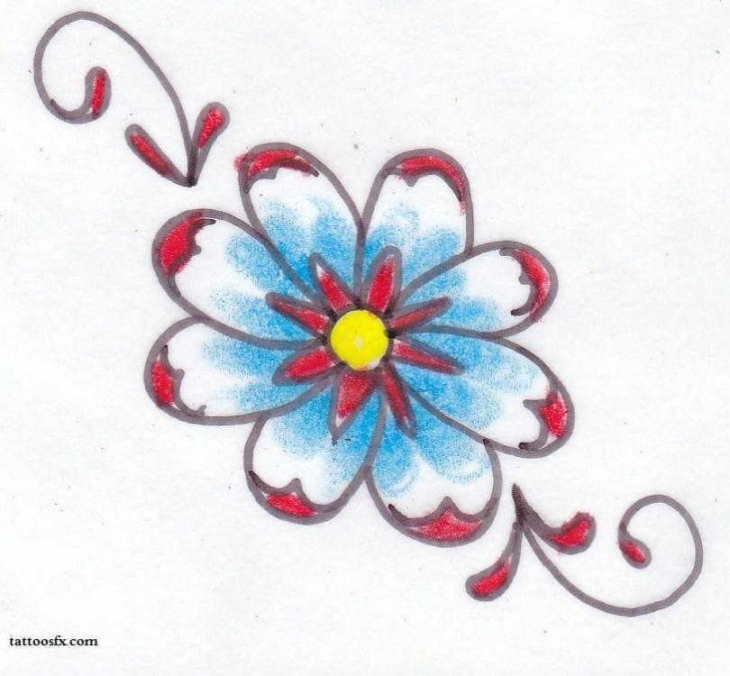 Charming Blue Red And Black Color Ink Daisy Tattoo Design For Boys