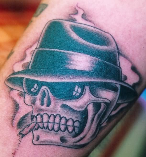 Charming Green And Black Color Ink Cowboy Skull Tattoo For Girls