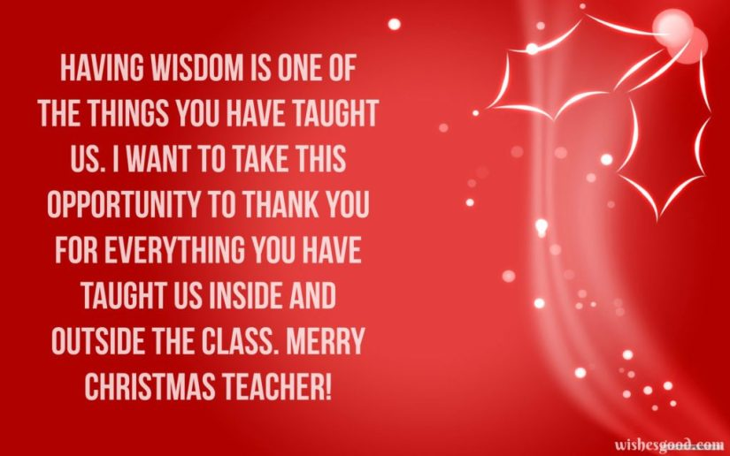 Christmas Wishes For Teacher