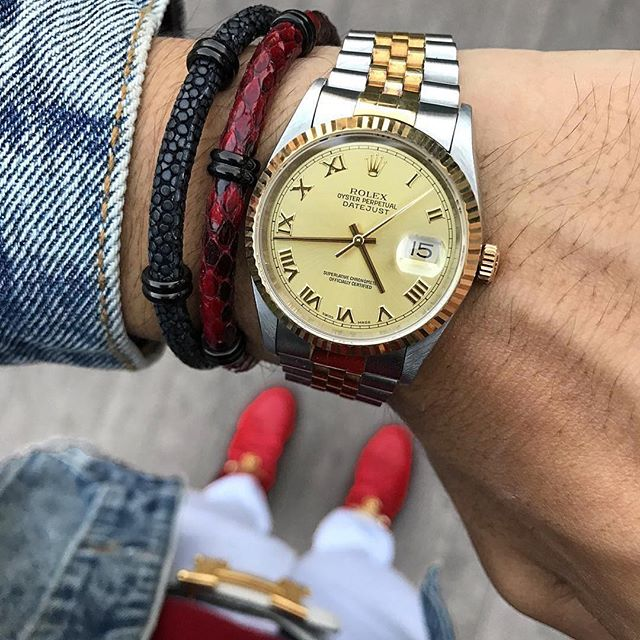 Classy Rolex Gold Watch And Leather Bracelet For Men
