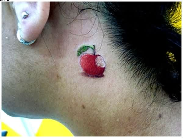 Cool Red And Green Color Ink Apple Tattoo Designs For Girls
