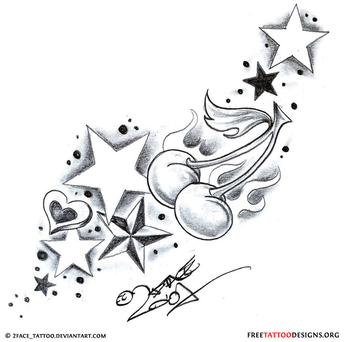Coolest Black And White Color InkCherry Stardust Tattoo Design For Boys