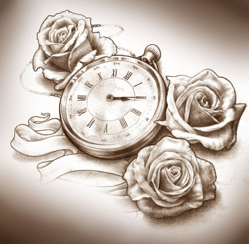Coolest Black Color Ink Roses And Clock Tattoo Designs For Boys