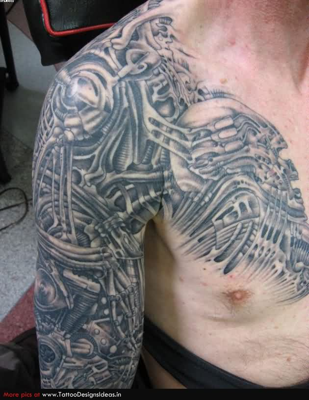 Coolest Grey Color Ink Biomechanical Alien Tattoo On Shoulder, Chest And Arm For Boys