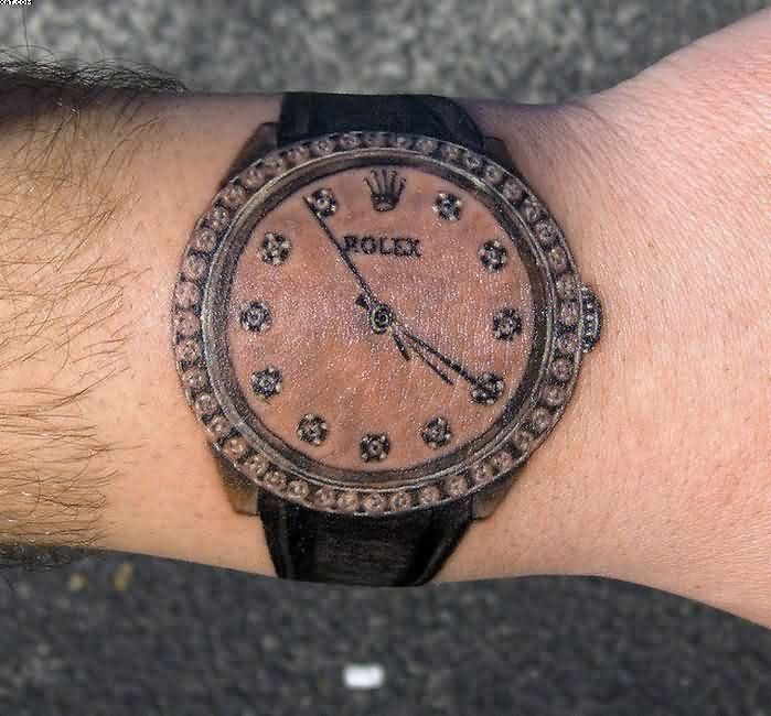 Costly Diamond Rolex Wrist Tattoo In Black Ink For Guys