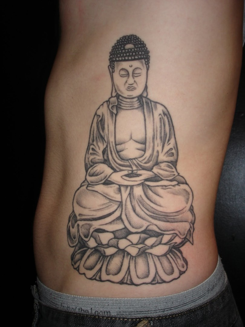Crazy Black Color Ink Rib Side Religious Buddha Tattoo Design For Boys