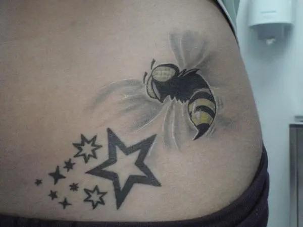 Creative Black Color Ink Bee & Stars Tattoo Design On Rib For Girls