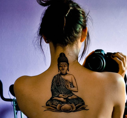 Creative Black Color Ink Buddha Back Tattoo Design For Women On Back