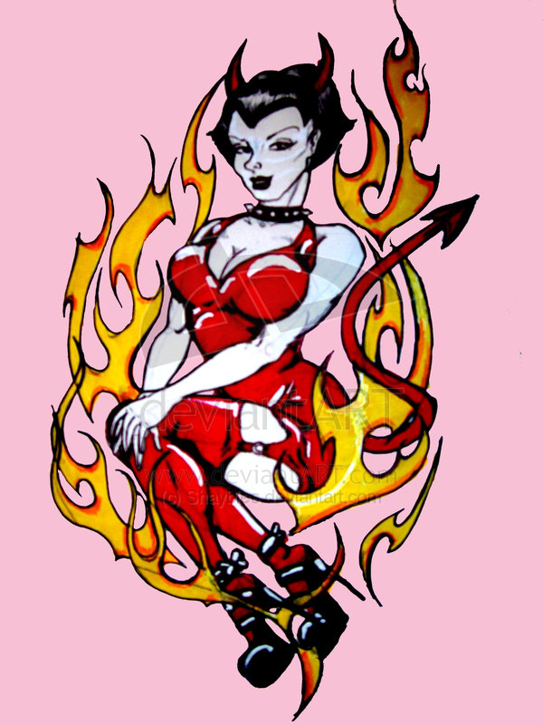 Creative Yellow Red And Black Color Ink Flaming Devil Woman Tattoo Design For Girls