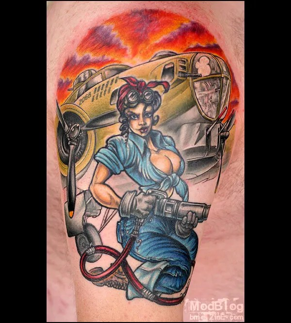 Custom Blue Green Black And Red Color Ink Bomber Girl Car Tattoo Design On Arm For Boys
