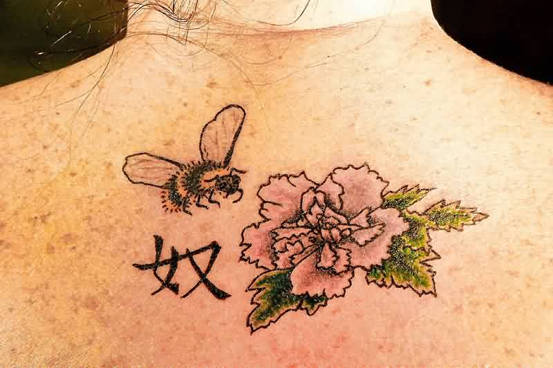 Cute Black And Green Color Ink Bee & Flower Tattoo On Back For Girls
