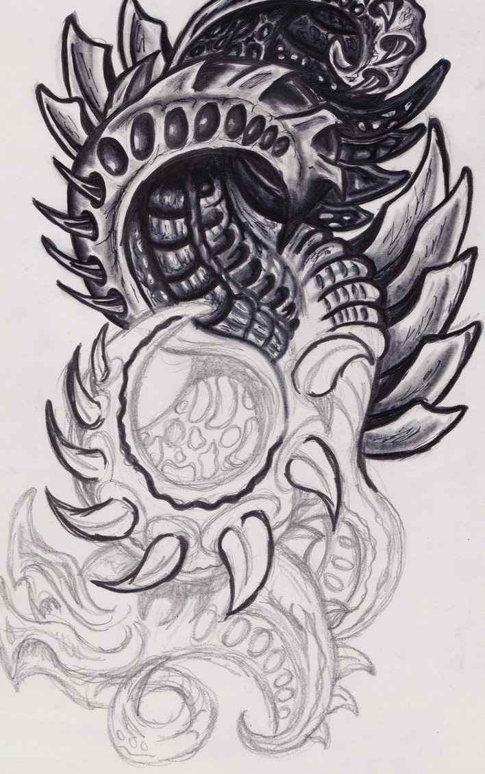 Cute Black And White Grey Color Ink Biomechanical Tattoo Design For Boys