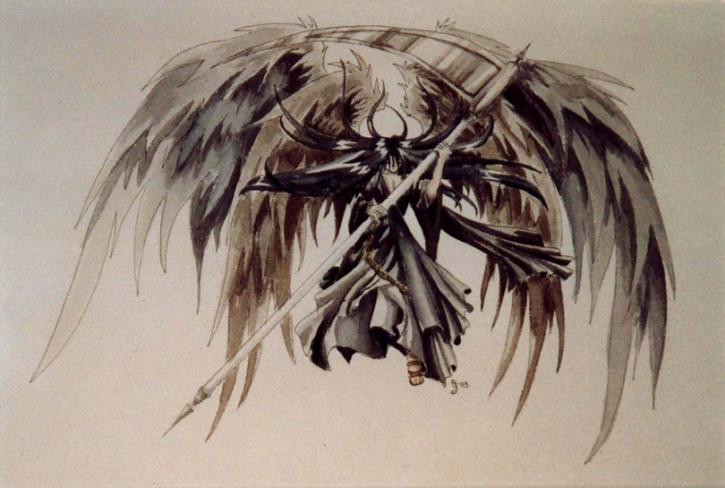 Cute Black Color Ink Angel Of Death Tattoo Design For Boys