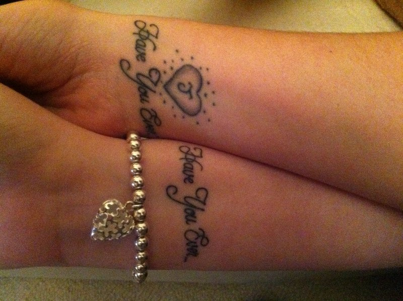 Cute Black Color Ink Have You Ever Couple Tattoo On Wrist For Couple