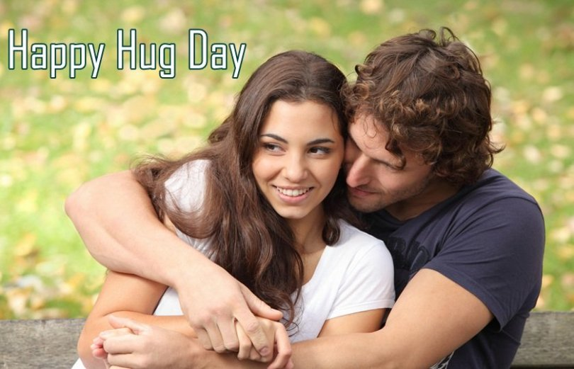 Cute Couple Celebrate Happy Hug Day Wallpaper