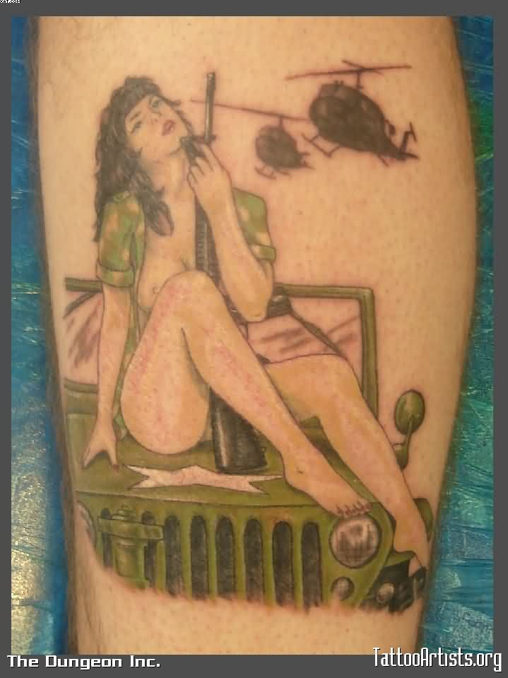 Cute Green And Black Color Ink Army Girl Sitting On Jeep Tattoo Design On Arm For Boys