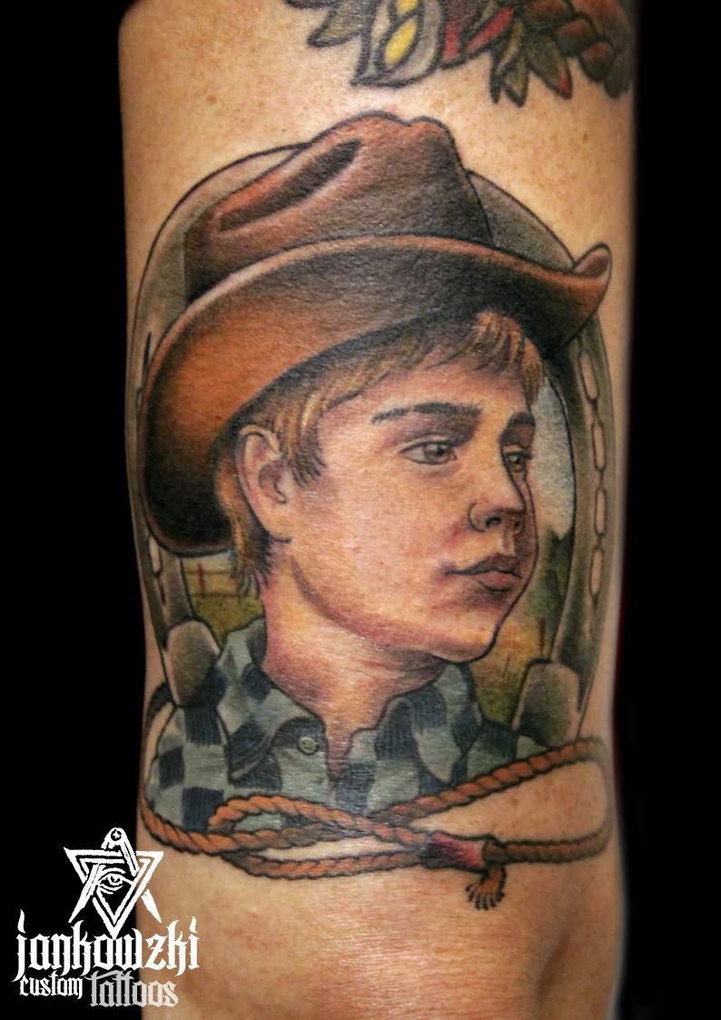 Cute Green Black And Red Color Ink Babies Cowboy Tattoo For Boys