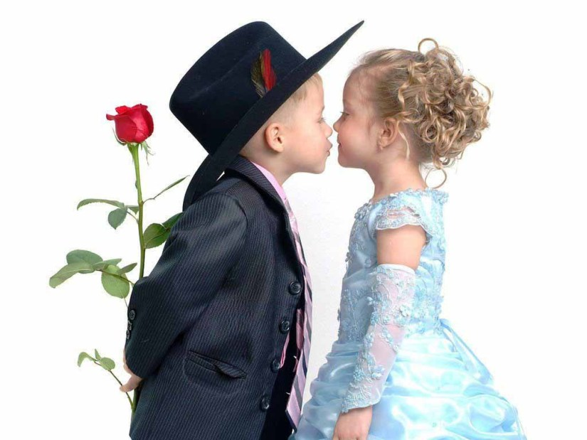 Cute Little Baby Couple Celebrating Kiss Day
