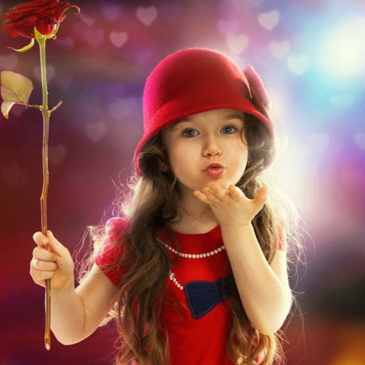Cute Little Girl Happy Rose Day Image