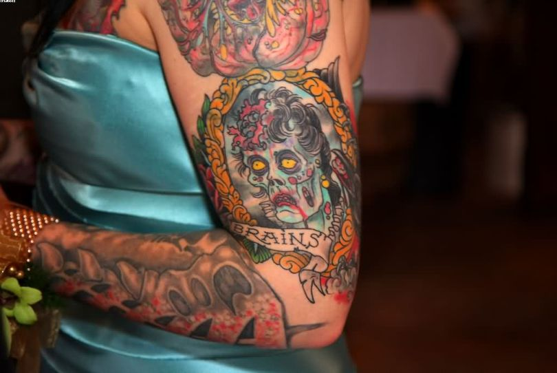 Dashing Brains Zombie Tattoo On Arm For Girl's arm With Colorful Ink