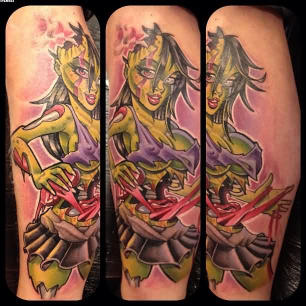Dashing Mat Lapping Zombie Pin Up Tattoos On Arm With Colorful Ink