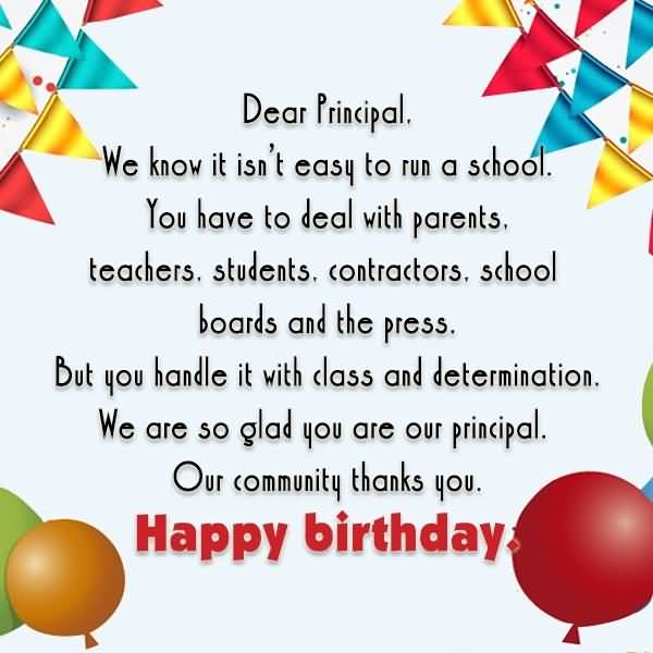 Dear Principal Happy Birthday Poem And Greeting Image