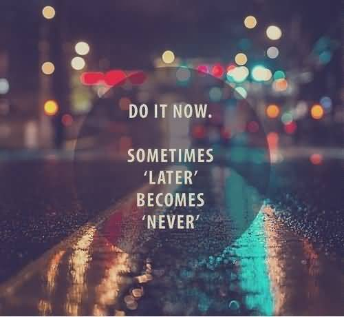 Do Quotes Do it now sometimes later becomes never (2)