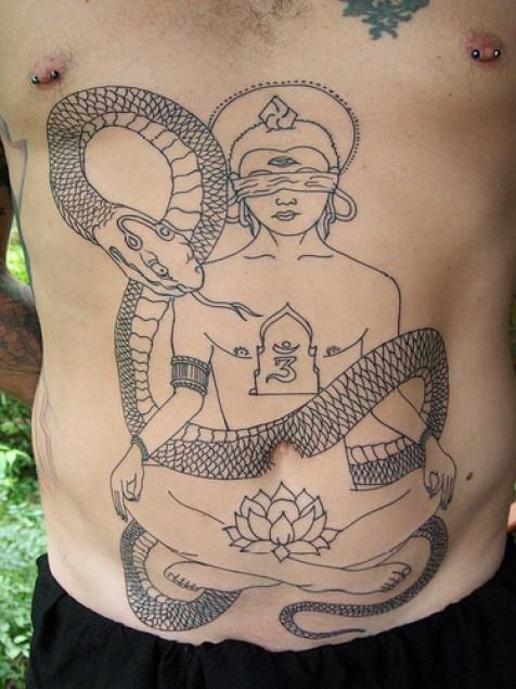Elegant Bkack Color Ink Big Religious Belly Tattoo Design For Boys