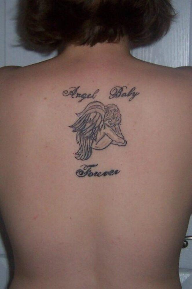 Elegant Black Color Ink Angel Baby Tattoo For Girls