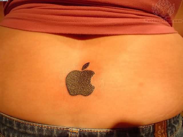 Elegant Black Color Ink Apple Logo Tattoo On Lower Back For Girls