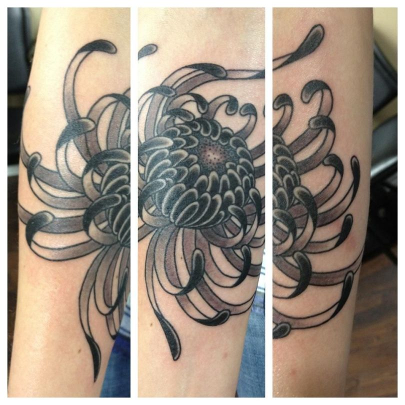 Elegant Black Color Ink Spider Chrysanthemum Tattoo Design For Girls