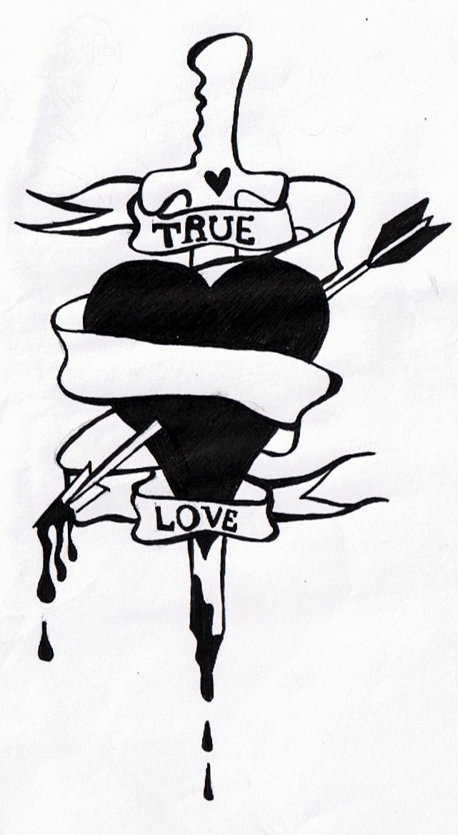 Extremely Black Color Ink True Love Dagger Tattoo Design For Boys