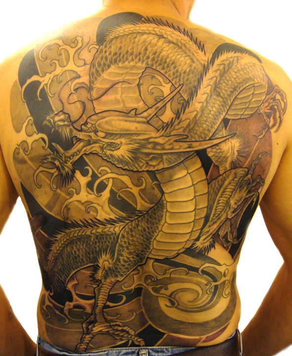 Extremely Yellow Black Color Ink Full Back Chinese Dragon Tattoo For Boys