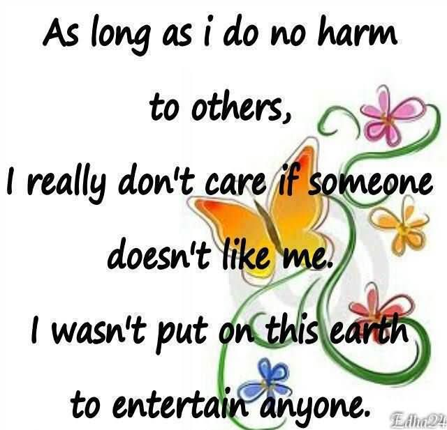 FFA Quotes As long as i do no harm to others i really don't care if someone doesn't like me