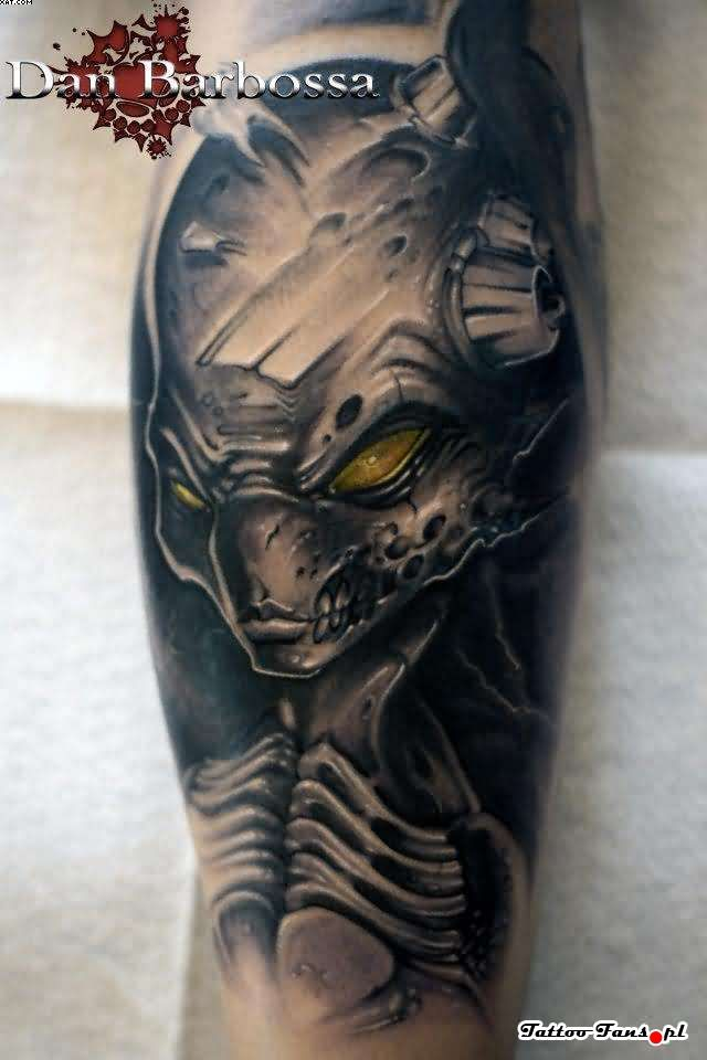 Fabulous Black And Grey Color Ink Terrifying Alien Tattoo For Boys