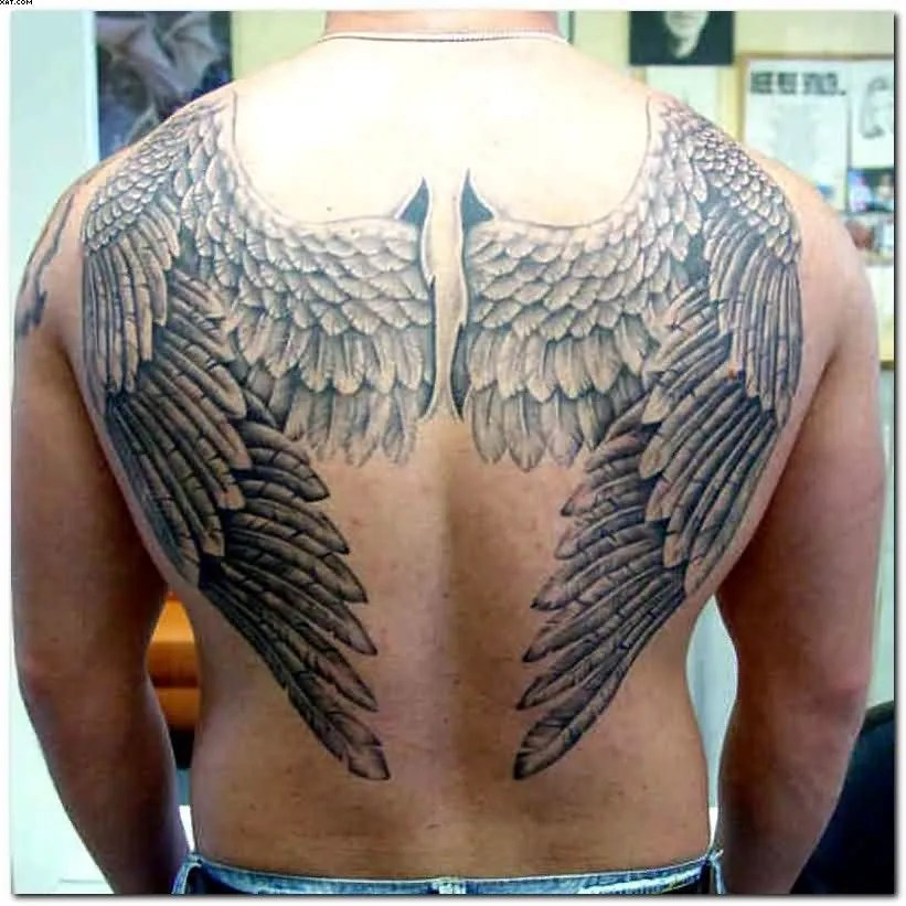 Black Color Ink Big Tattoo Design Of Angel Wings On Back For Boys