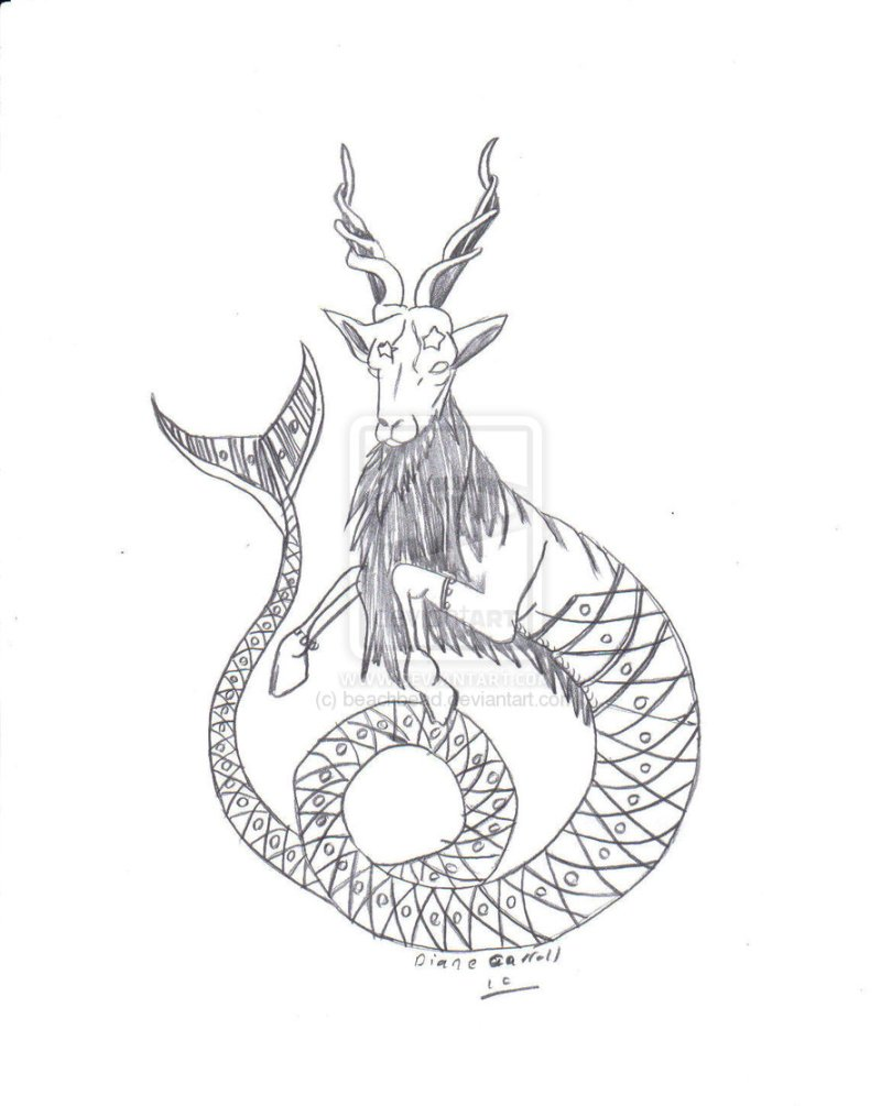 Fabulous Black Color Ink Capricorn Goat Tattoo Drawing For Boys