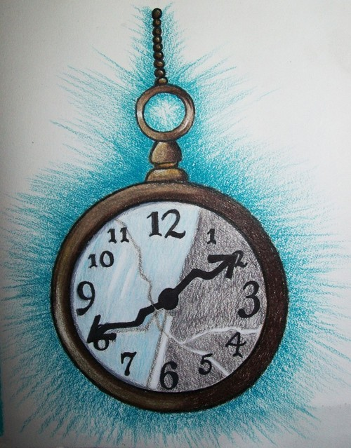 Fabulous Black White And Brown Color ink Clock Tattoo Project For Girls