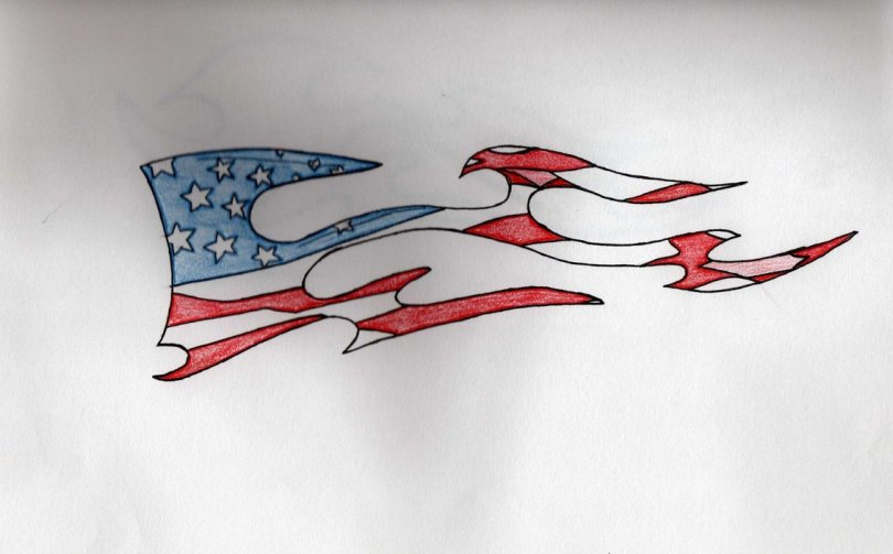 Fabulous Blue Black And Red Color Ink American Flag Tattoo Design For Boys