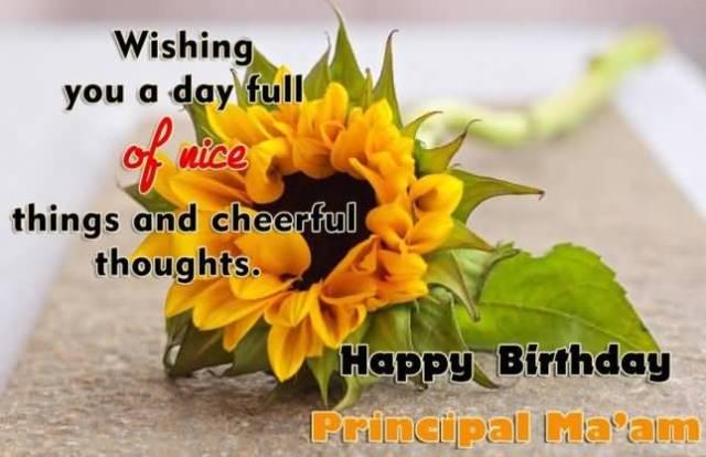 Fabulous Flower Happy Birthday Principal Ma'am Greeting Image