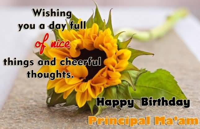 Fabulous Flower Happy Birthday Principal Ma'am Greeting Image