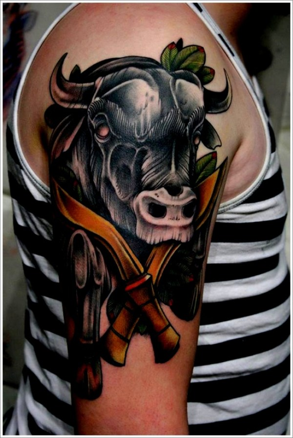 Fabulous Green Black And Red Color Ink Black Bull Tattoos Design With Daggers On Shoulder For Boys