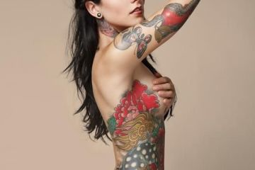 Fabulous Red Green And Black Color Ink Apple With Snake Tattoo On Sexy Girl's Arm For Women
