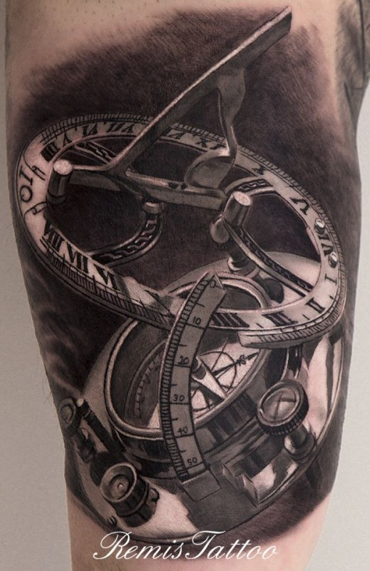 Famous Black Color Ink Sundial Compass Tattoo For Boys