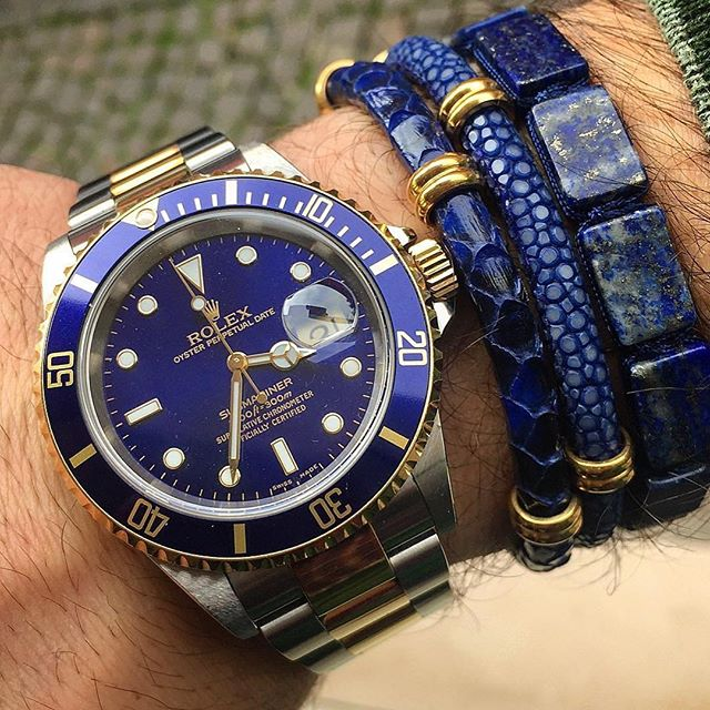 Famous Blue Rolex Watch And Blue Stone Bracelet