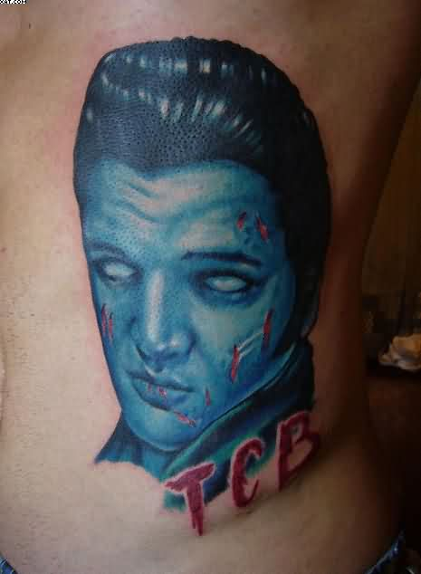 Famous Celebrity Zombie Face Tattoo On Side
