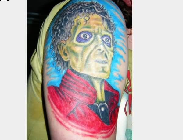 Famous Michael Jackson Thriller Zombie Tattoo On Arm Ghost