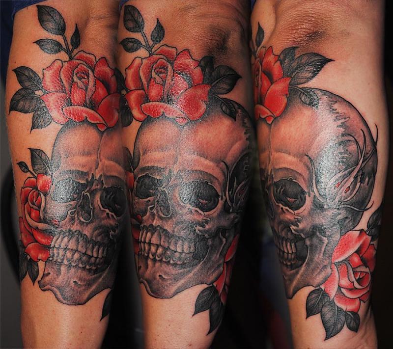 Fantastic Black And Red Color Ink Death Skull n Rose Tattoo Design For Boys