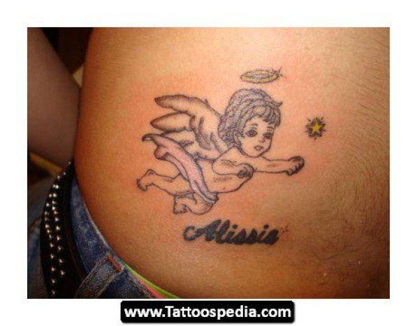 Fantastic Black Color Ink Angel Baby Flying Tattoo Design On Back For Girls